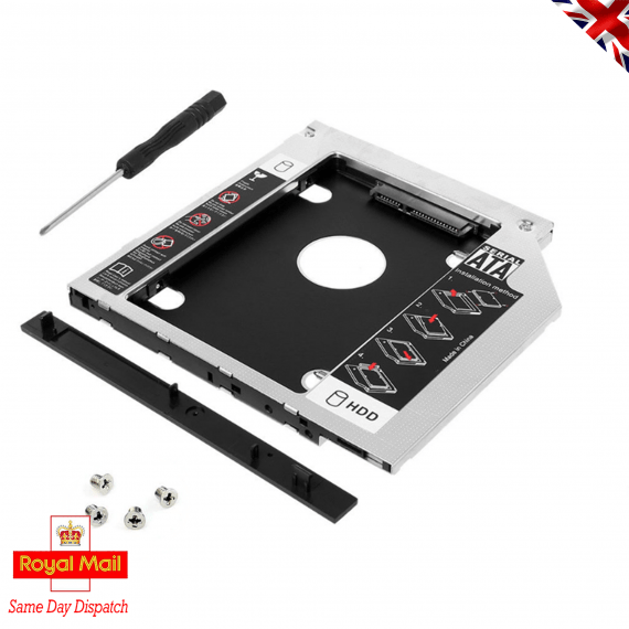 "9.5 mm to 2.5"" HDD, 2nd HDD, DVD RW Bay Caddy Adapter"