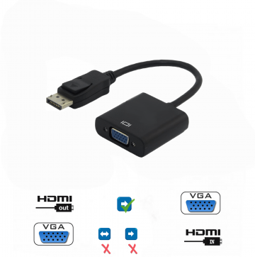 HDMI Input to VGA Output Adapter Built-in active IC chip improves compatibility Supports resolutions up to 1080p / 1920 x 1200 and 8/10/12 bit colour depths Supports YCC to RGB and RGB to YCC colour space conversion Anti corrosionGold-plated connectors, improve signal performance Power Consumption: 250mA, No External Power Required HDCP protected signals Not Supported